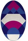 rug #1202203 | oval blue-violet graphic rug