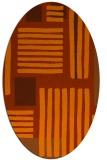 rug #1207899 | oval red-orange stripes rug