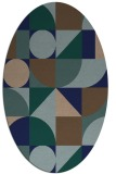 rug #1209503 | oval blue graphic rug