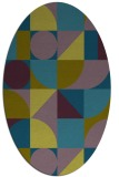 rug #1209539 | oval green abstract rug