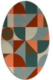 rug #1209683 | oval orange retro rug