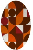 rug #1209751 | oval red-orange geometry rug