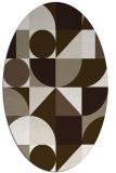 rug #1209779 | oval beige abstract rug
