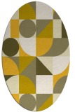 rug #1209783 | oval yellow graphic rug