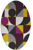 rug #1209791 | oval yellow retro rug