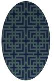 rug #1222403 | oval blue check rug