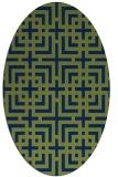 rug #1222407 | oval blue check rug