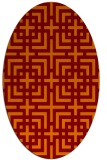 rug #1222575 | oval red-orange check rug
