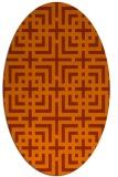 rug #1222639 | oval red-orange check rug