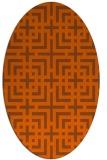 rug #1222647 | oval red-orange check rug