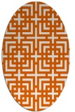 rug #1222651 | oval red-orange check rug