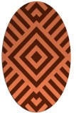 rug #1224887 | oval red-orange stripes rug