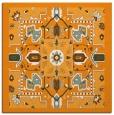 rug #1281235 | square light-orange damask rug
