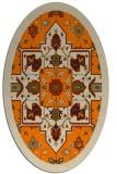 rug #1281243 | oval orange damask rug