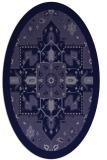 rug #1281327 | oval blue-violet damask rug