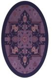rug #1281339 | oval blue-violet damask rug