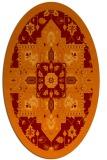 rug #1281455 | oval red-orange damask rug