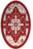 rug #1281511 | oval red damask rug