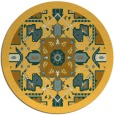 rug #1282311 | round light-orange damask rug