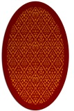 rug #1283295 | oval red-orange damask rug