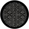 rug #1284111 | round black damask rug
