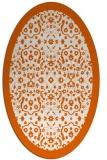 rug #1285211 | oval red-orange damask rug