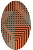 rug #1296187 | oval red-orange check rug