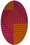 rug #1296247 | oval red-orange check rug