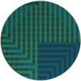 rug #1296763 | round blue-green check rug