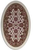 rug #1305323 | oval beige damask rug