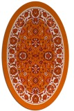rug #1305451 | oval red-orange damask rug