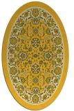 rug #1305483 | oval yellow damask rug