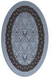 rug #1307111 | oval blue-violet damask rug