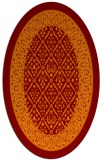 rug #1307215 | oval red-orange damask rug