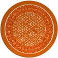 rug #1308027 | round red-orange damask rug