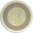 rug #1308067 | round yellow damask rug