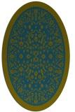 rug #1308919 | oval green damask rug