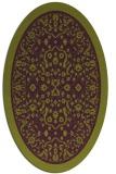 rug #1309091 | oval green damask rug