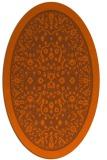 rug #1309127 | oval red-orange damask rug