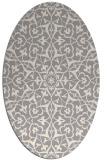 rug #1329340 | oval beige damask rug