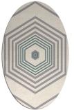 rug #1331660 | oval white retro rug