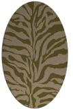 rug #172417   oval mid-brown stripes rug