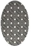 rug #174061 | oval white check rug
