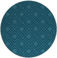 rug #174809 | round blue-green check rug