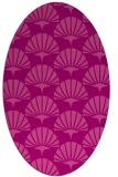 rug #191865   oval pink retro rug