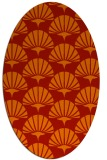 rug #191901 | oval orange graphic rug