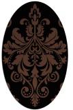 rug #193433   oval brown damask rug
