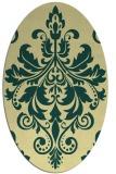 rug #193621   oval yellow damask rug