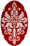 rug #193657 | oval red damask rug