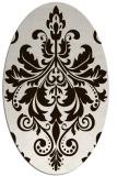 rug #193713   oval brown damask rug